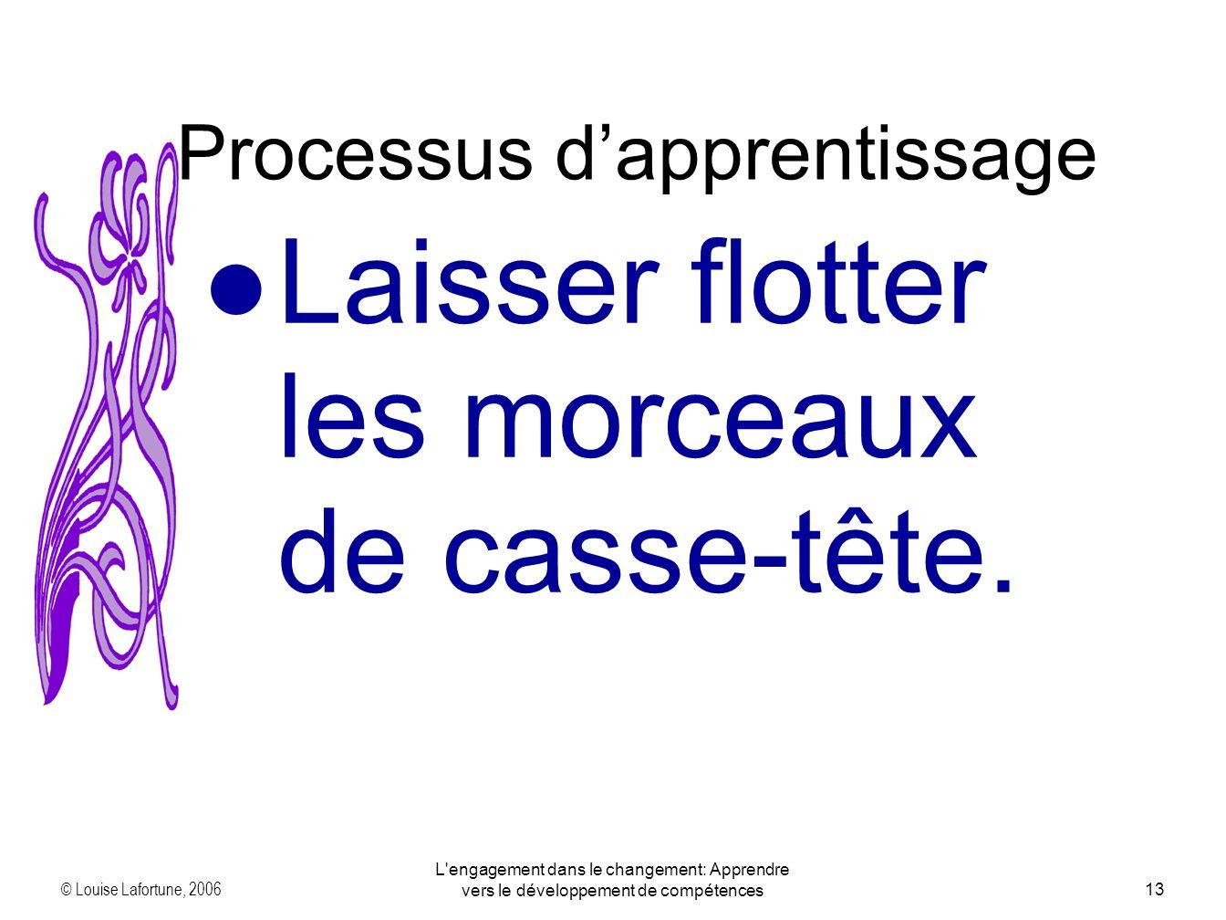 © Louise Lafortune, 2006 L engagement dans le changement: Apprendre vers le développement de compétences13 Laisser flotter les morceaux de casse-tête.