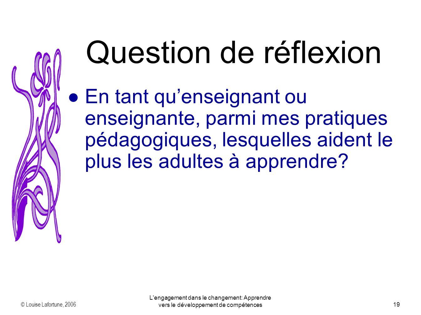 © Louise Lafortune, 2006 L engagement dans le changement: Apprendre vers le développement de compétences19 En tant quenseignant ou enseignante, parmi mes pratiques pédagogiques, lesquelles aident le plus les adultes à apprendre.