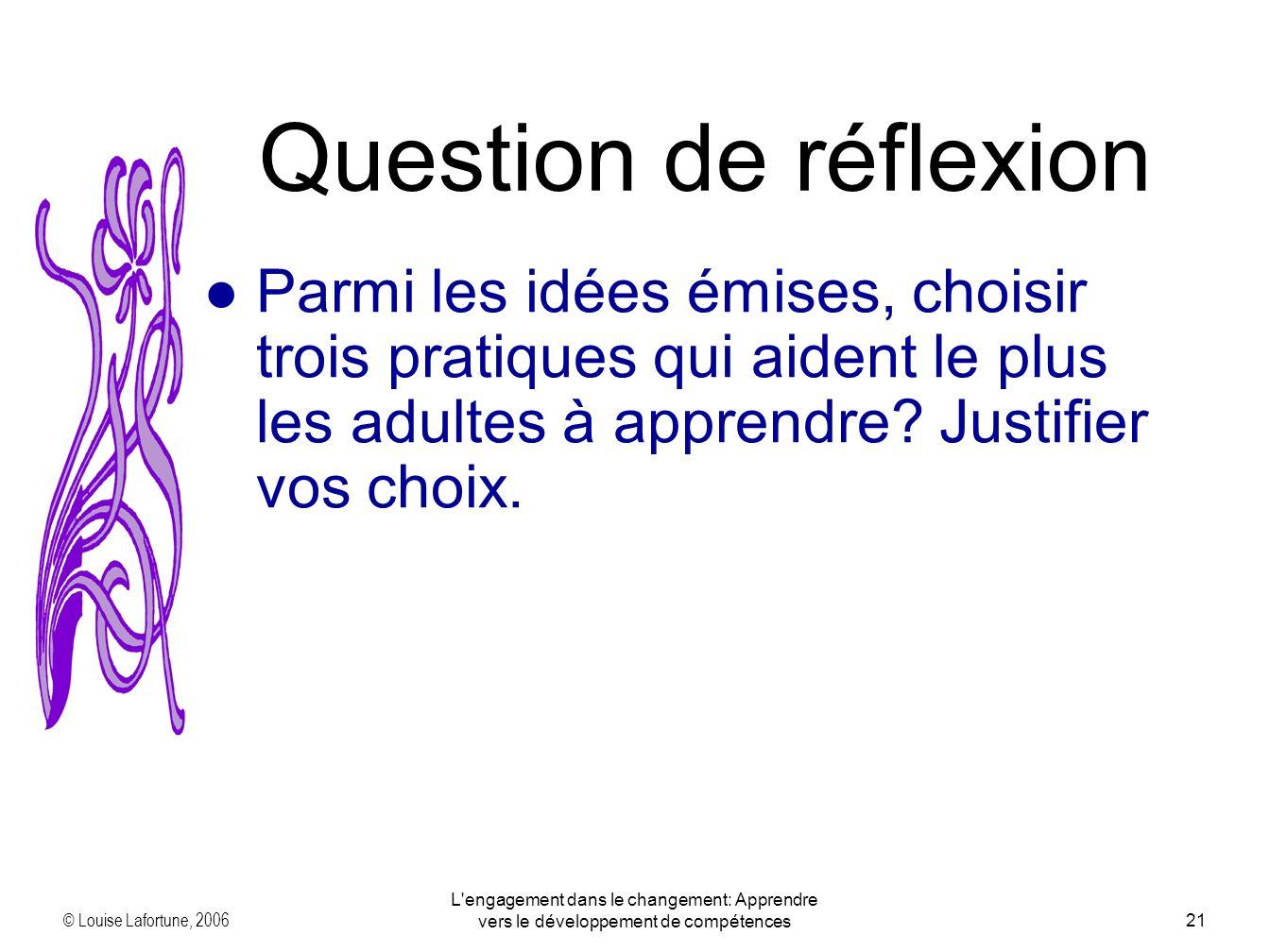 © Louise Lafortune, 2006 L engagement dans le changement: Apprendre vers le développement de compétences21 Parmi les idées émises, choisir trois pratiques qui aident le plus les adultes à apprendre.