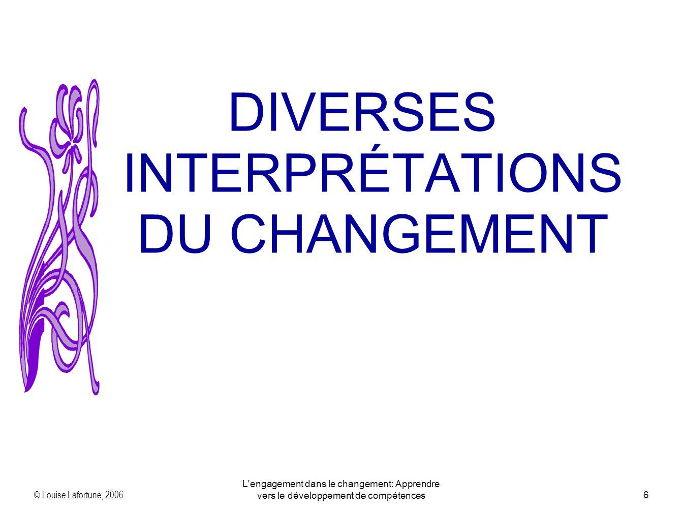 © Louise Lafortune, 2006 L engagement dans le changement: Apprendre vers le développement de compétences6 DIVERSES INTERPRÉTATIONS DU CHANGEMENT