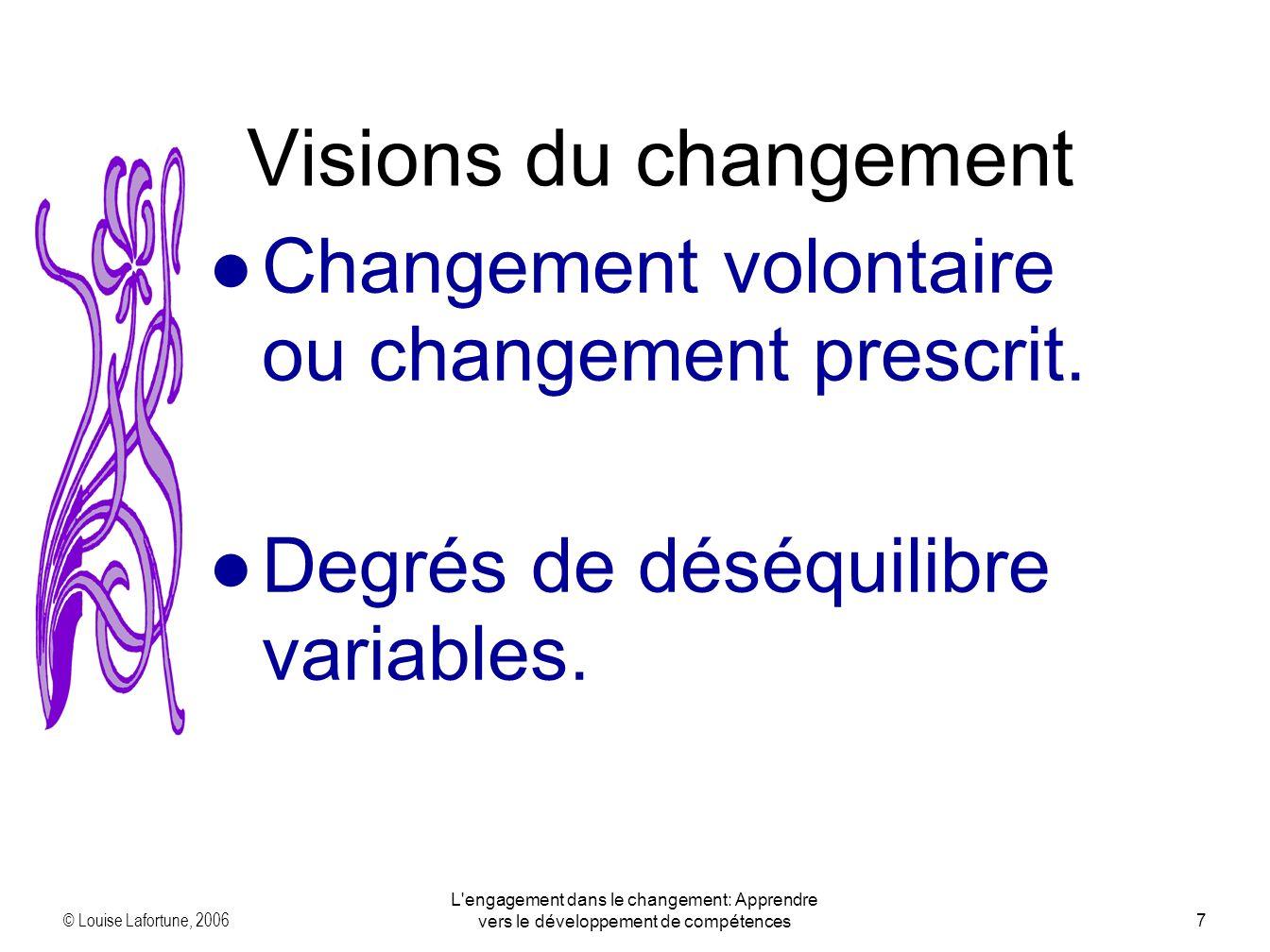 © Louise Lafortune, 2006 L engagement dans le changement: Apprendre vers le développement de compétences7 Changement volontaire ou changement prescrit.