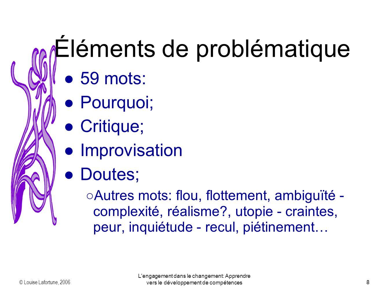 © Louise Lafortune, 2006 L engagement dans le changement: Apprendre vers le développement de compétences8 59 mots: Pourquoi; Critique; Improvisation Doutes; Autres mots: flou, flottement, ambiguïté - complexité, réalisme?, utopie - craintes, peur, inquiétude - recul, piétinement… Éléments de problématique