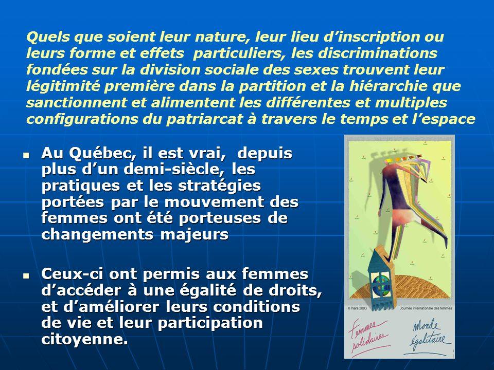 Au Québec, il est vrai, depuis plus dun demi-siècle, les pratiques et les stratégies portées par le mouvement des femmes ont été porteuses de changements majeurs Au Québec, il est vrai, depuis plus dun demi-siècle, les pratiques et les stratégies portées par le mouvement des femmes ont été porteuses de changements majeurs Ceux-ci ont permis aux femmes daccéder à une égalité de droits, et daméliorer leurs conditions de vie et leur participation citoyenne.