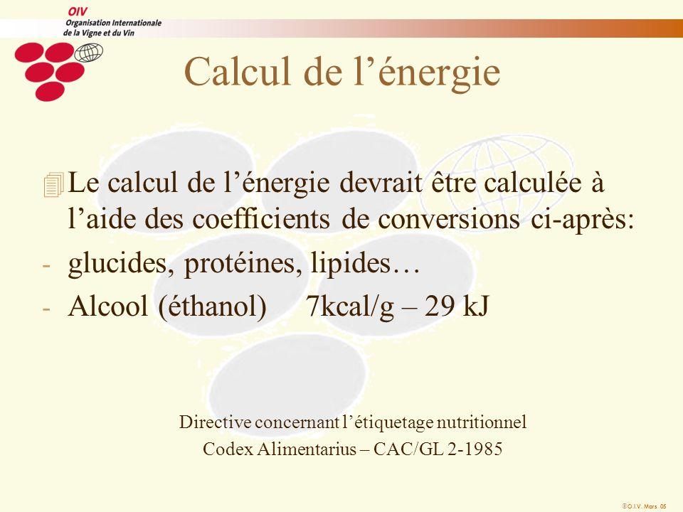O.I.V. Mars 05 Calcul de lénergie 4 Le calcul de lénergie devrait être calculée à laide des coefficients de conversions ci-après: - glucides, protéine