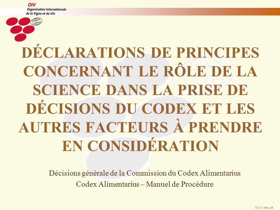 DÉCLARATIONS DE PRINCIPES CONCERNANT LE RÔLE DE LA SCIENCE DANS LA PRISE DE DÉCISIONS DU CODEX ET LES AUTRES FACTEURS À PRENDRE EN CONSIDÉRATION Décisions générale de la Commission du Codex Alimentarius Codex Alimentarius – Manuel de Procédure