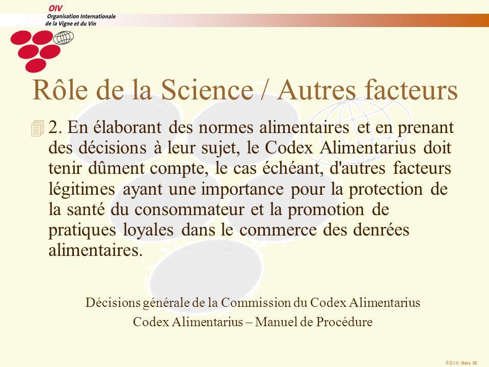 O.I.V. Mars 05 Rôle de la Science / Autres facteurs 4 2. En élaborant des normes alimentaires et en prenant des décisions à leur sujet, le Codex Alime