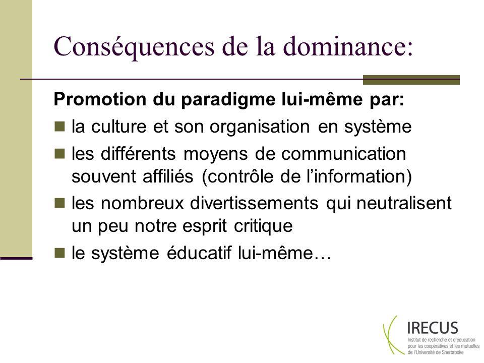 Conséquences de la dominance: Promotion du paradigme lui-même par: la culture et son organisation en système les différents moyens de communication souvent affiliés (contrôle de linformation) les nombreux divertissements qui neutralisent un peu notre esprit critique le système éducatif lui-même…