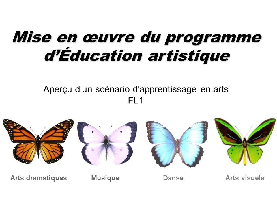 Mise en œuvre du programme dÉducation artistique Aperçu dun scénario dapprentissage en arts FL1 Musique Arts dramatiques Danse Arts visuels