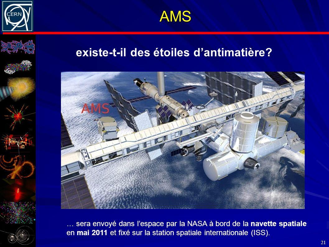 AMS 21 … sera envoyé dans lespace par la NASA à bord de la navette spatiale en mai 2011 et fixé sur la station spatiale internationale (ISS). existe-t