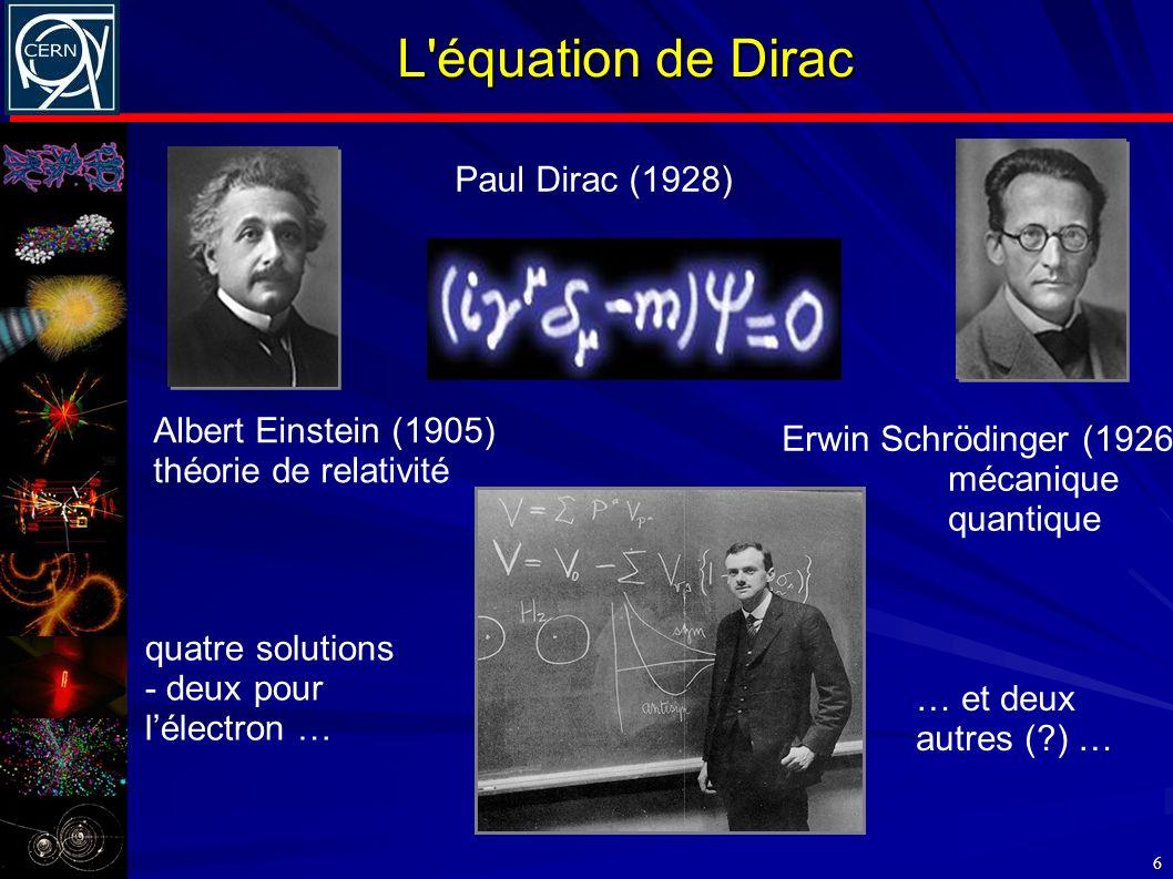L'équation de Dirac 6 Albert Einstein (1905) théorie de relativité Erwin Schrödinger (1926) mécanique quantique Paul Dirac (1928) quatre solutions - d