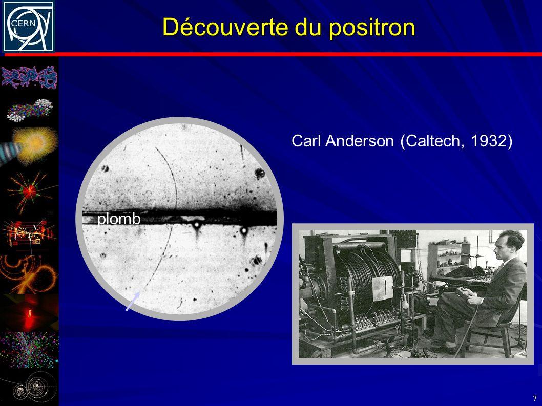 Découverte du positron 7 plomb Carl Anderson (Caltech, 1932)
