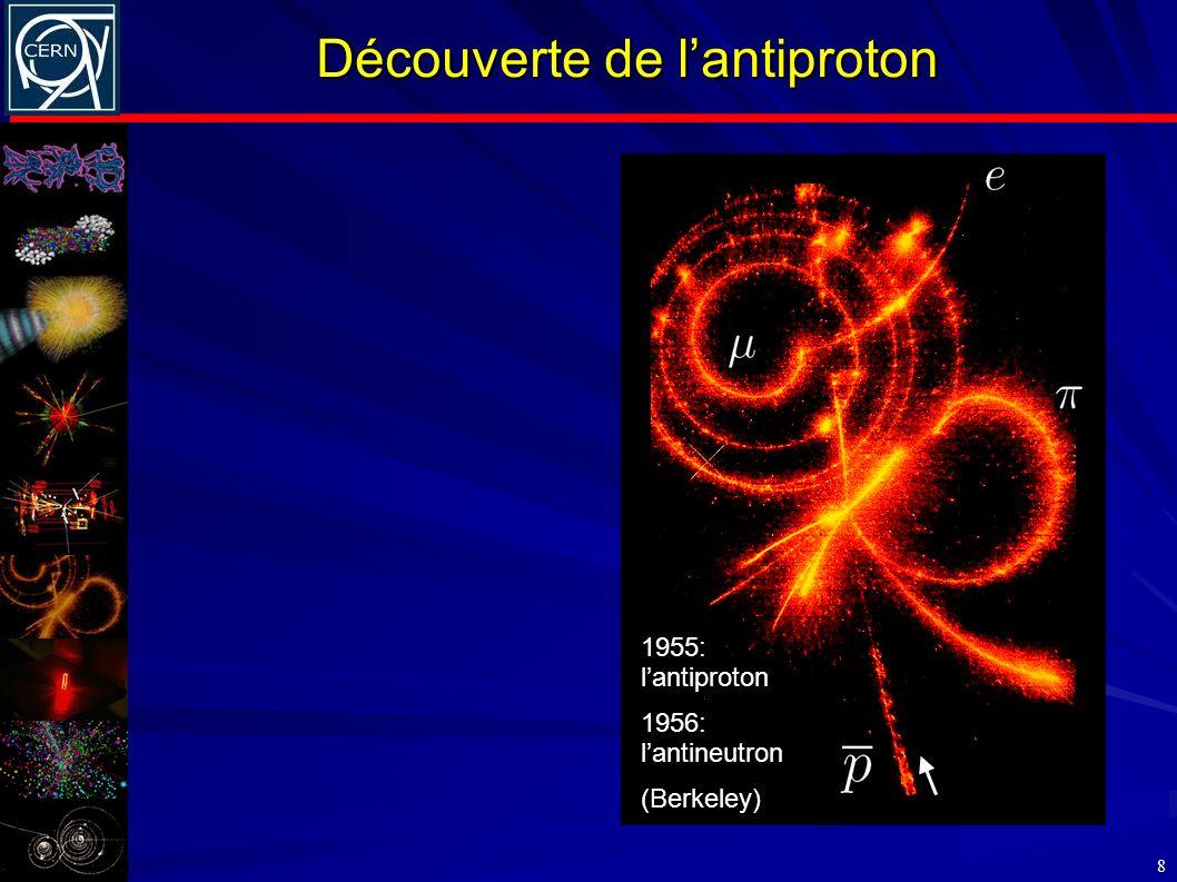 Découverte de lantiproton 8 1955: lantiproton 1956: lantineutron (Berkeley)
