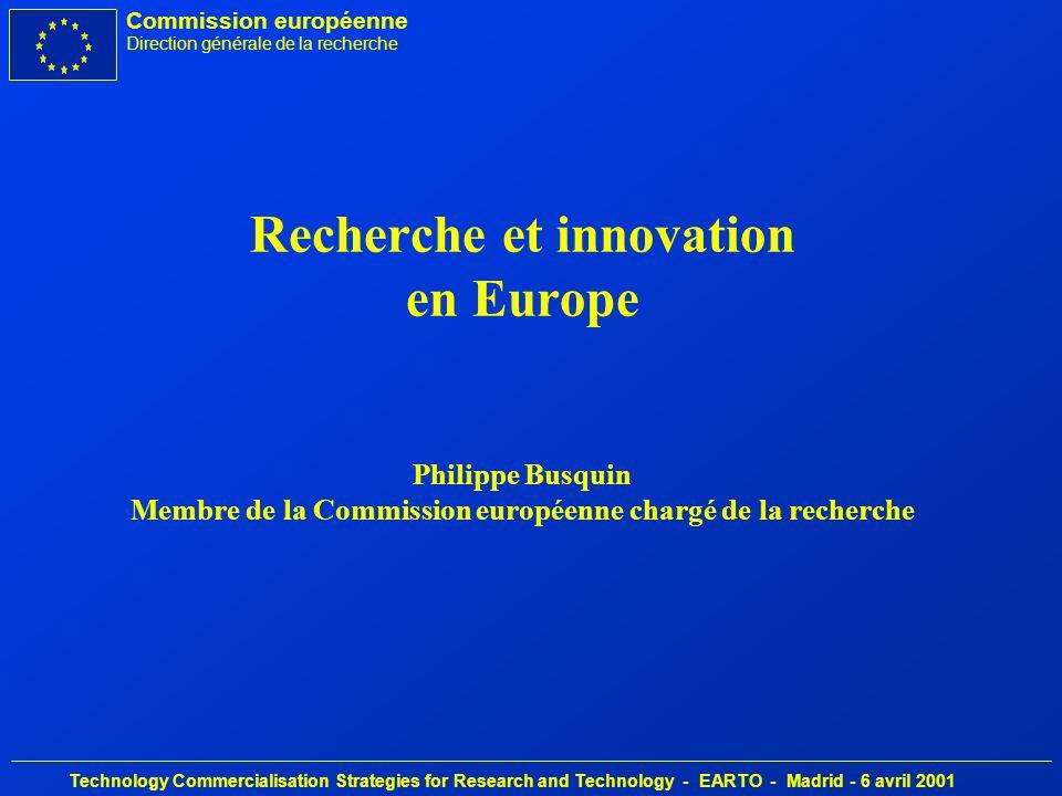 Commission européenne Direction générale de la recherche Technology Commercialisation Strategies for Research and Technology - EARTO - Madrid - 6 avril 2001 Objectif défini au sommet de Lisbonne: èEconomie de la connaissance la plus compétitive et la plus dynamique du monde èComposante centrale: projet dEspace européen de la recherche èCatalyseur: nouveau programme-cadre de recherche La recherche et l innovation sont devenues un objectif stratégique de l UE