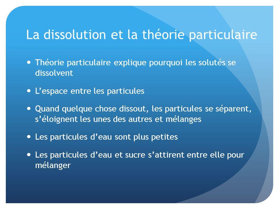 La dissolution et la théorie particulaire Théorie particulaire explique pourquoi les solutés se dissolvent Lespace entre les particules Quand quelque