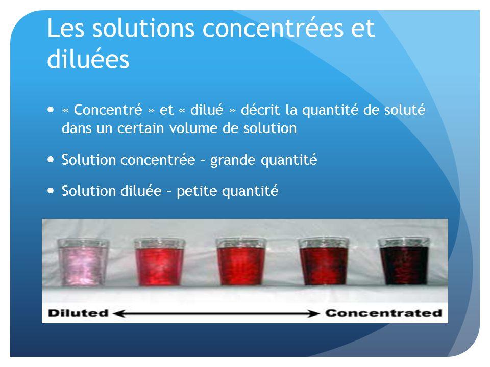 Les solutions concentrées et diluées « Concentré » et « dilué » décrit la quantité de soluté dans un certain volume de solution Solution concentrée –