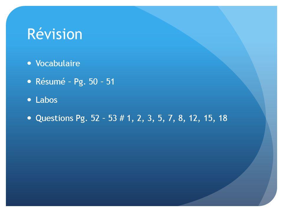 Révision Vocabulaire Résumé – Pg. 50 – 51 Labos Questions Pg. 52 – 53 # 1, 2, 3, 5, 7, 8, 12, 15, 18