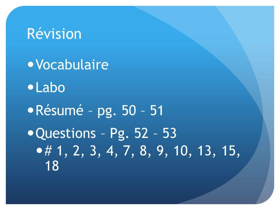 Révision Vocabulaire Labo Résumé – pg. 50 – 51 Questions – Pg. 52 – 53 # 1, 2, 3, 4, 7, 8, 9, 10, 13, 15, 18