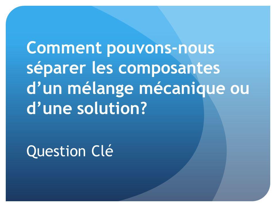 Comment pouvons-nous séparer les composantes dun mélange mécanique ou dune solution? Question Clé
