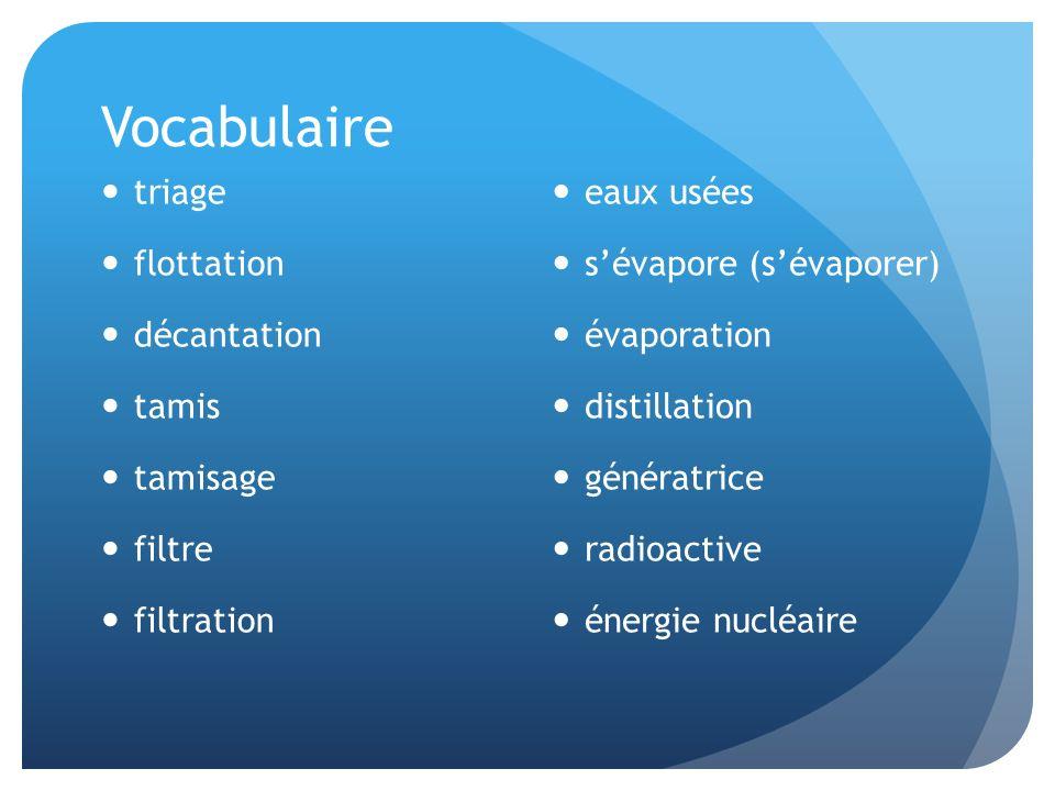 Vocabulaire triage flottation décantation tamis tamisage filtre filtration eaux usées sévapore (sévaporer) évaporation distillation génératrice radioa