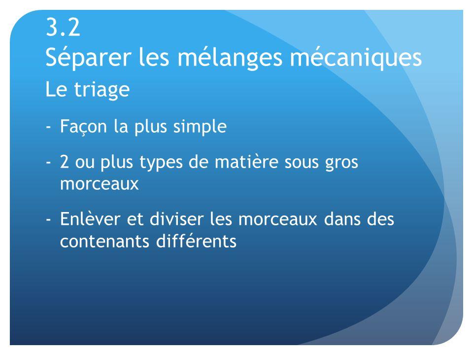 3.2 Séparer les mélanges mécaniques Le triage -Façon la plus simple -2 ou plus types de matière sous gros morceaux -Enlèver et diviser les morceaux da