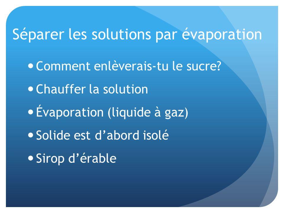 Séparer les solutions par évaporation Comment enlèverais-tu le sucre? Chauffer la solution Évaporation (liquide à gaz) Solide est dabord isolé Sirop d