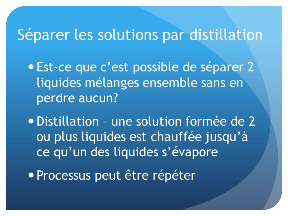 Séparer les solutions par distillation Est-ce que cest possible de séparer 2 liquides mélanges ensemble sans en perdre aucun? Distillation – une solut