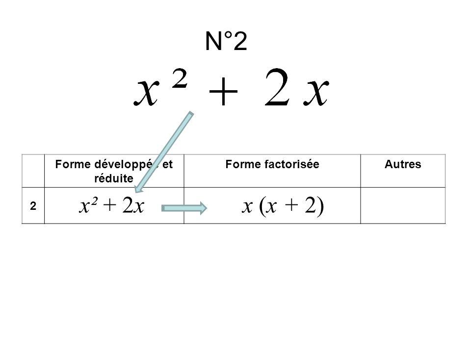 N°2 Forme développée et réduite Forme factoriséeAutres 2 x² + 2xx (x + 2)