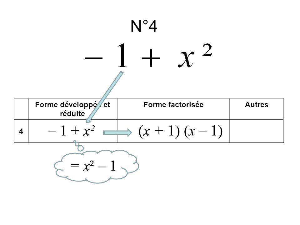 N°4 Forme développée et réduite Forme factoriséeAutres 4 – 1 + x²(x + 1) (x – 1) = x² – 1