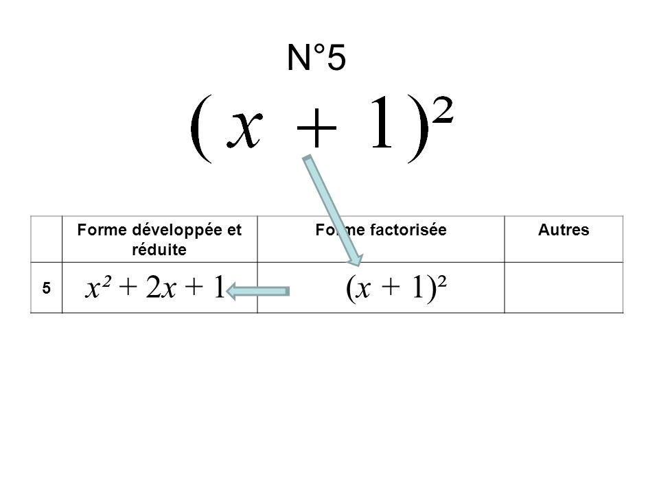 N°5 Forme développée et réduite Forme factoriséeAutres 5 x² + 2x + 1(x + 1)²