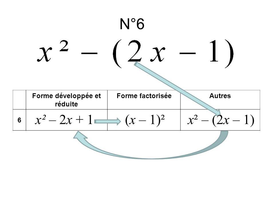 N°6 Forme développée et réduite Forme factoriséeAutres 6 x² – 2x + 1x² – (2x – 1)(x – 1)²