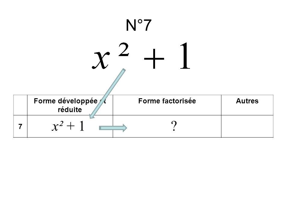 N°7 Forme développée et réduite Forme factoriséeAutres 7 x² + 1?