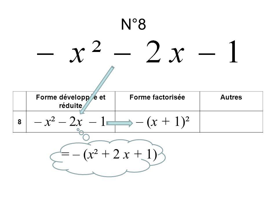 N°8 Forme développée et réduite Forme factoriséeAutres 8 – x² – 2x – 1– (x + 1)² = – (x² + 2 x + 1)