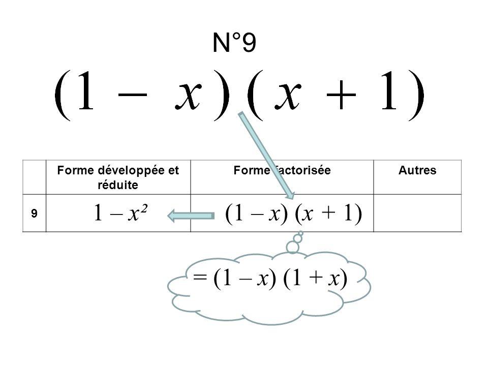 N°9 Forme développée et réduite Forme factoriséeAutres 9 1 – x²(1 – x) (x + 1) = (1 – x) (1 + x)