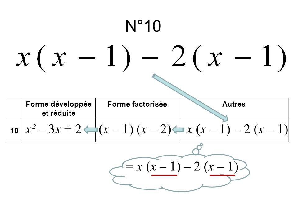 N°10 Forme développée et réduite Forme factoriséeAutres 10 x² – 3x + 2x (x – 1) – 2 (x – 1)(x – 1) (x – 2) = x (x – 1) – 2 (x – 1)