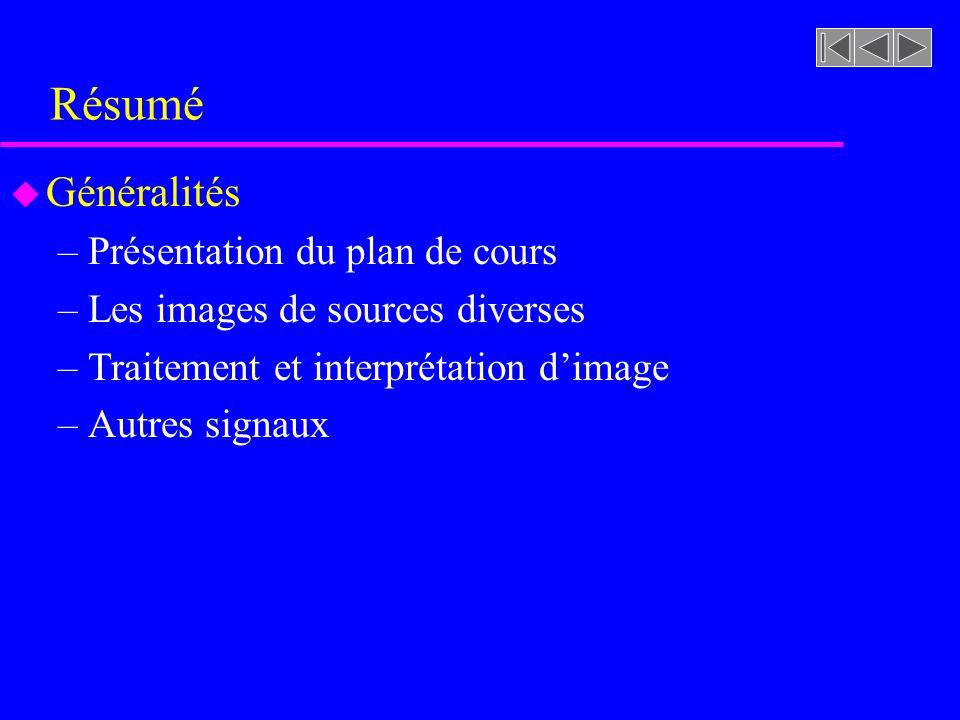 Résumé u Généralités –Présentation du plan de cours –Les images de sources diverses –Traitement et interprétation dimage –Autres signaux
