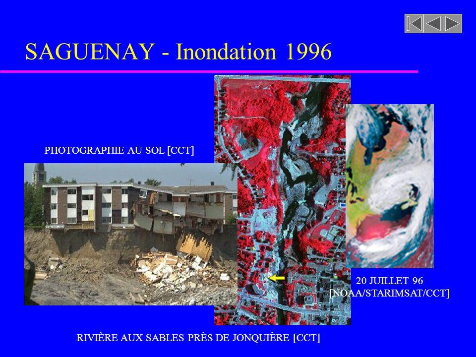 RIVIÈRE AUX SABLES PRÈS DE JONQUIÈRE [CCT] SAGUENAY - Inondation 1996 PHOTOGRAPHIE AU SOL [CCT] 20 JUILLET 96 [NOAA/STARIMSAT/CCT]