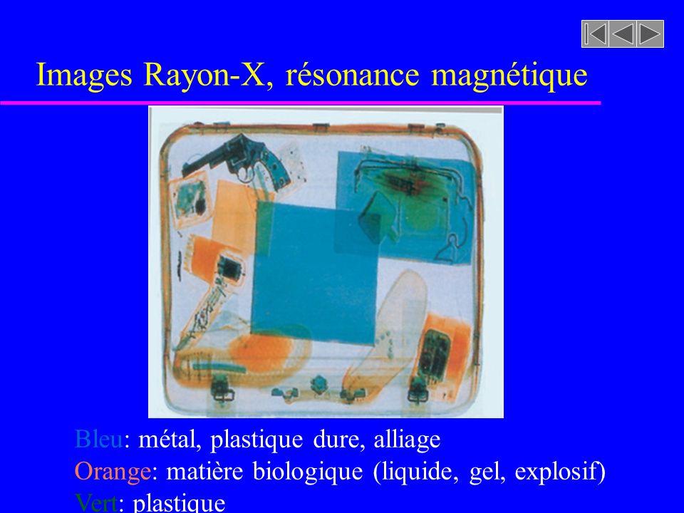 Images Rayon-X, résonance magnétique Bleu: métal, plastique dure, alliage Orange: matière biologique (liquide, gel, explosif) Vert: plastique