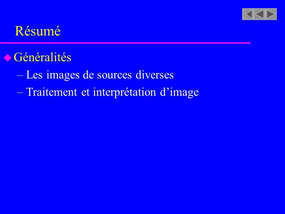 Résumé u Généralités –Les images de sources diverses –Traitement et interprétation dimage