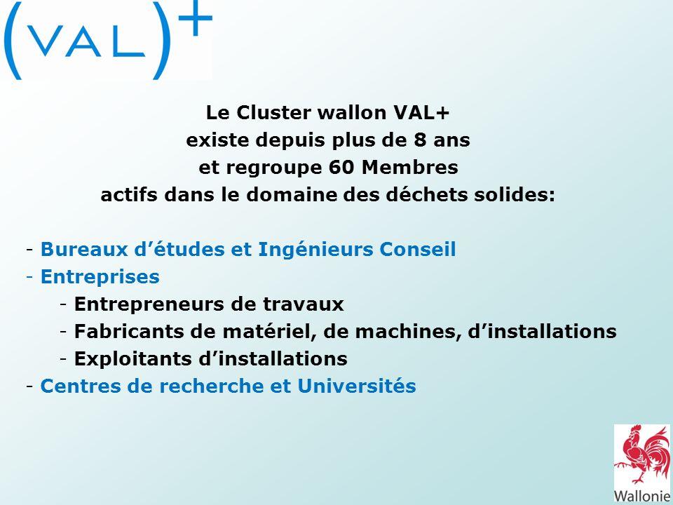 Le Cluster wallon VAL+ existe depuis plus de 8 ans et regroupe 60 Membres actifs dans le domaine des déchets solides: - Bureaux détudes et Ingénieurs