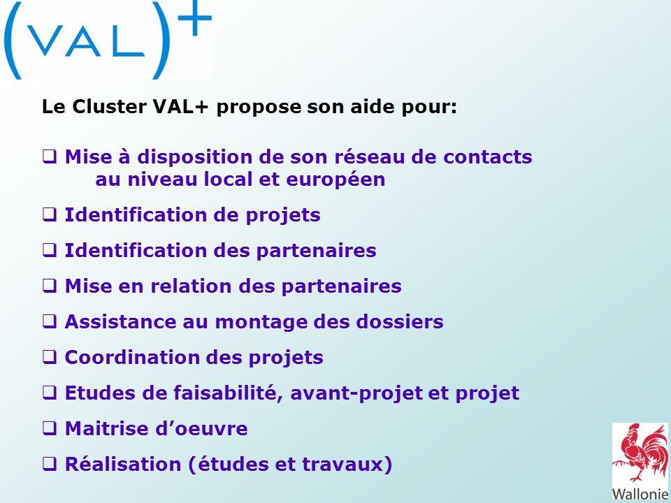 Le Cluster VAL+ propose son aide pour: Mise à disposition de son réseau de contacts au niveau local et européen Identification de projets Identificati