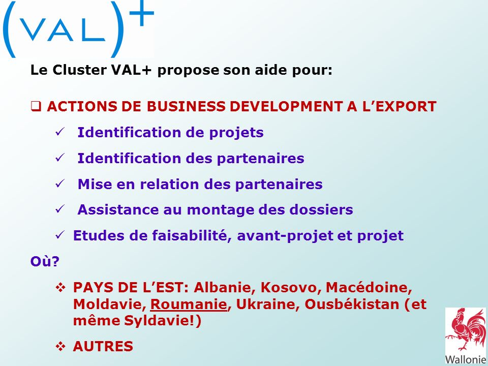 Le Cluster VAL+ propose son aide pour: ACTIONS DE BUSINESS DEVELOPMENT A LEXPORT Identification de projets Identification des partenaires Mise en rela
