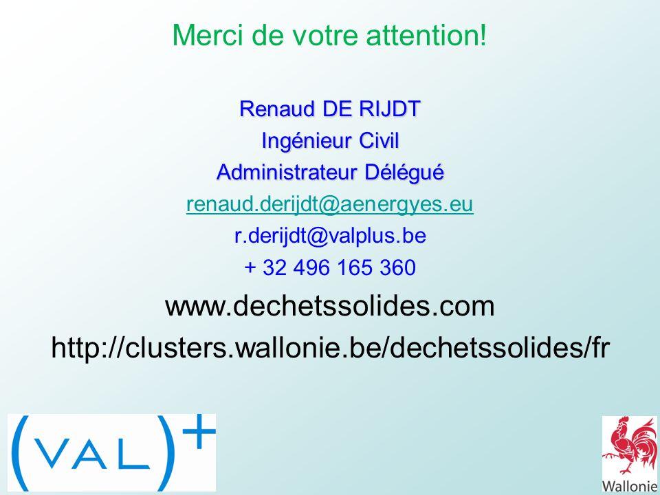 Renaud DE RIJDT Ingénieur Civil Administrateur Délégué renaud.derijdt@aenergyes.eu r.derijdt@valplus.be + 32 496 165 360 www.dechetssolides.com http:/