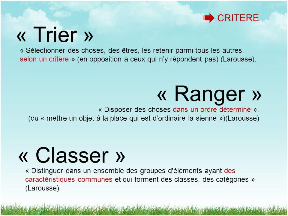 « Trier » « Classer » « Ranger » « Sélectionner des choses, des êtres, les retenir parmi tous les autres, selon un critère » (en opposition à ceux qui