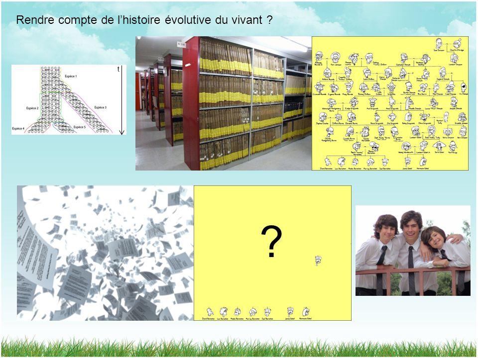 Rendre compte de lhistoire évolutive du vivant ? t ?