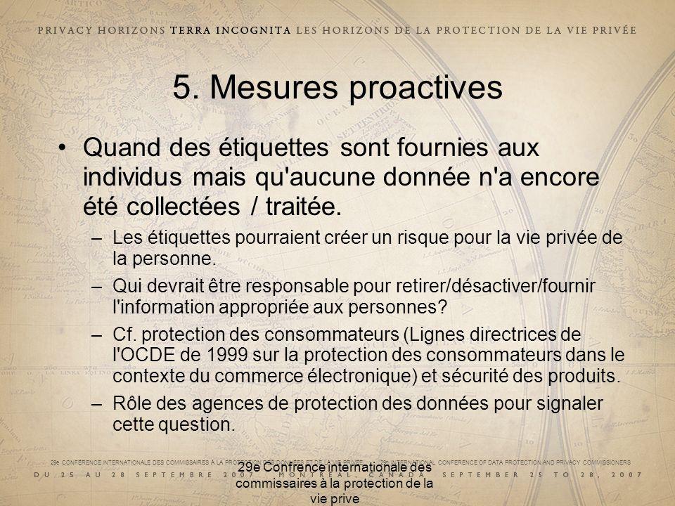 29e CONFÉRENCE INTERNATIONALE DES COMMISSAIRES À LA PROTECTION DES DONNÉES ET DE LA VIE PRIVÉE 29 th INTERNATIONAL CONFERENCE OF DATA PROTECTION AND PRIVACY COMMISSIONERS 5.