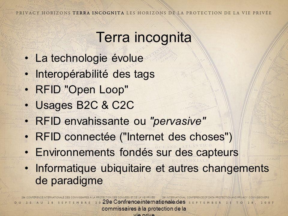 29e CONFÉRENCE INTERNATIONALE DES COMMISSAIRES À LA PROTECTION DES DONNÉES ET DE LA VIE PRIVÉE 29 th INTERNATIONAL CONFERENCE OF DATA PROTECTION AND PRIVACY COMMISSIONERS Terra incognita La technologie évolue Interopérabilité des tags RFID Open Loop Usages B2C & C2C RFID envahissante ou pervasive RFID connectée ( Internet des choses ) Environnements fondés sur des capteurs Informatique ubiquitaire et autres changements de paradigme 29e Confrence internationale des commissaires à la protection de la vie prive