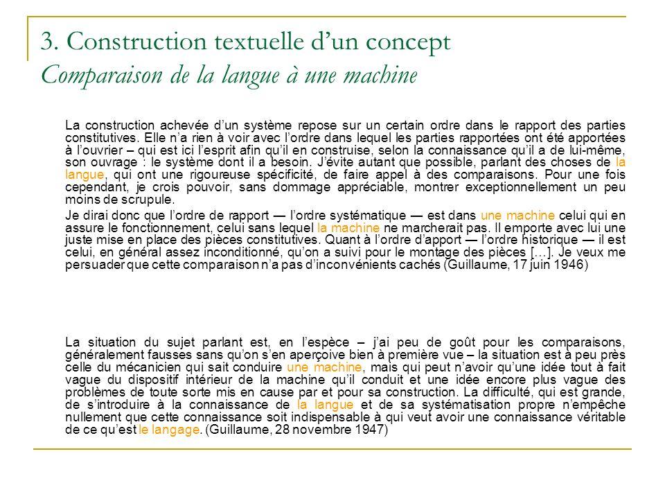 3. Construction textuelle dun concept Comparaison de la langue à une machine La construction achevée dun système repose sur un certain ordre dans le r