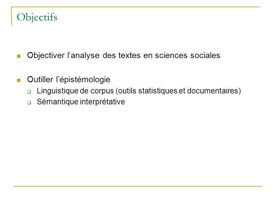 Objectifs Objectiver lanalyse des textes en sciences sociales Outiller lépistémologie Linguistique de corpus (outils statistiques et documentaires) Sé