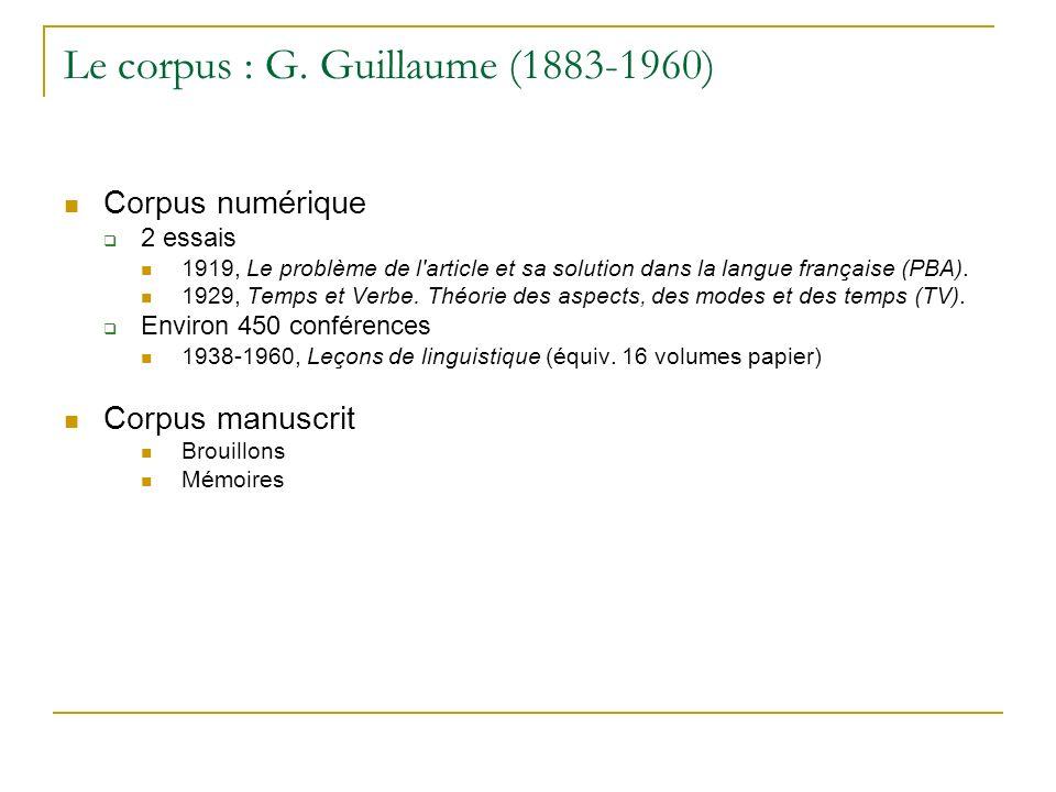 Le corpus : G. Guillaume (1883-1960) Corpus numérique 2 essais 1919, Le problème de l'article et sa solution dans la langue française (PBA). 1929, Tem