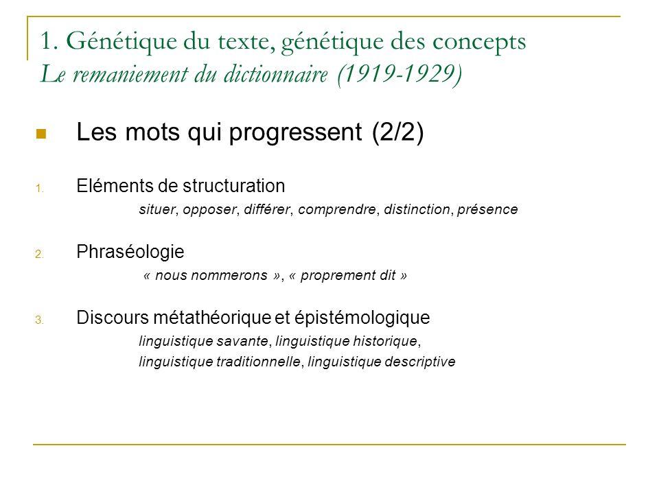 1. Génétique du texte, génétique des concepts Le remaniement du dictionnaire (1919-1929) Les mots qui progressent (2/2) 1. Eléments de structuration s